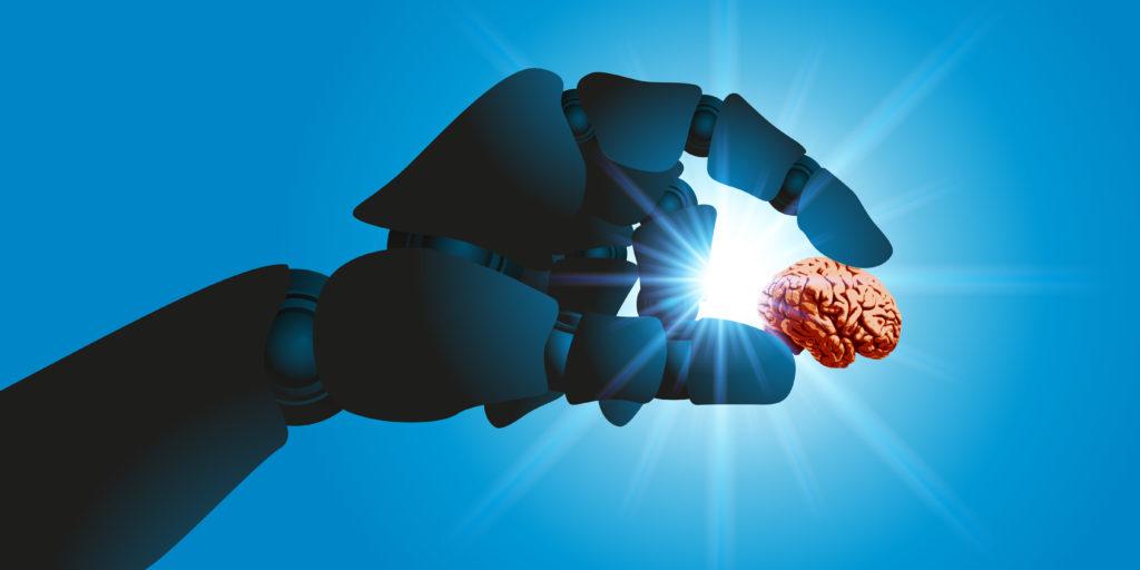 Robot tenant dans sa main un cerveau